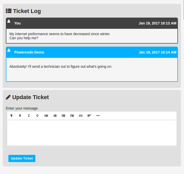 Customer Portal Ticket
