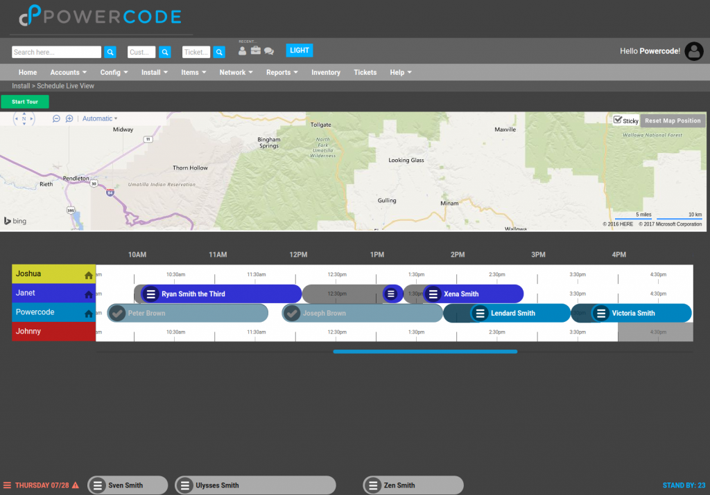 Powercode's Schedule Live View With Docked Jobs