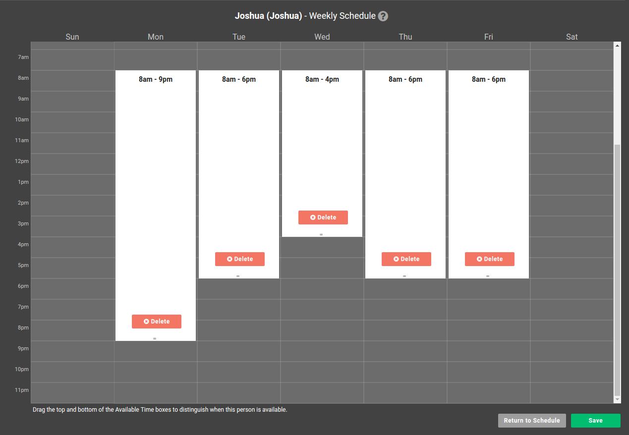 User Schedule